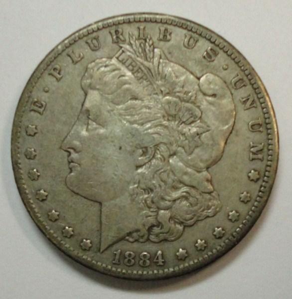 1884-CC MORGAN SILVER DOLLAR XF-AU