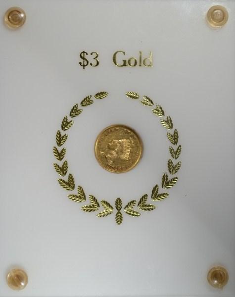 1855 $3.00 GOLD AU NICE