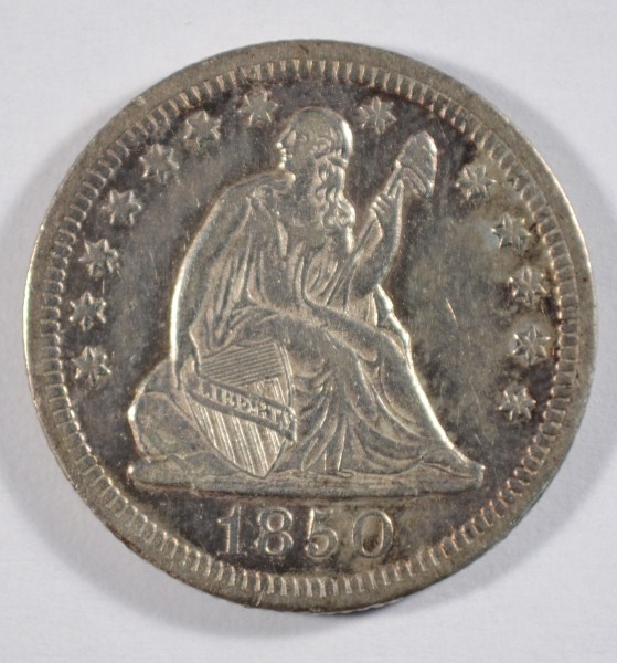 1850O Seated quarter VF25 est $90-$100