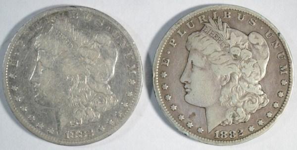2 1882CC Morgan $ Fine est $180-$190