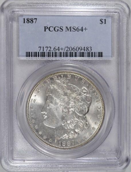 1887 MORGAN DOLLAR PCGS MS64 +