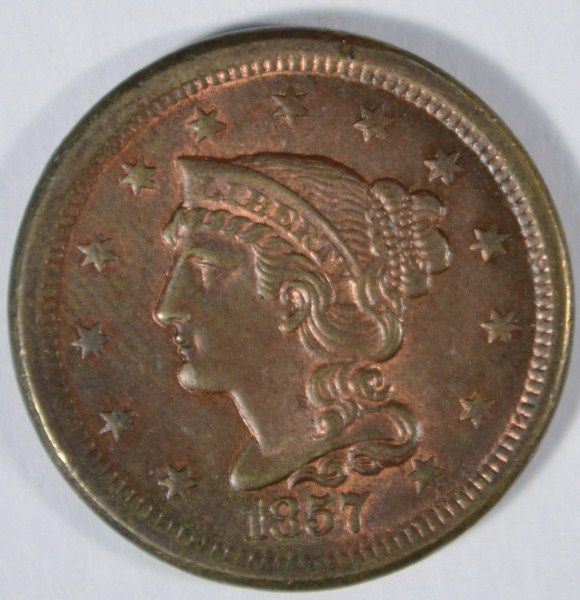 1857 SMALL DATE LARGE CENT AU-53 LUSTER. SCARCE