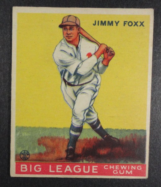 1933 Goudey baseball card #154 JIMMY FOX EX with paper wrinkle Book value $1600