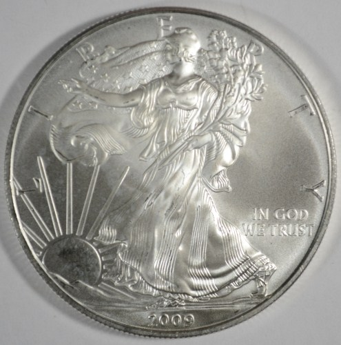 2009 AMERICAN SILVER EAGLE ONE OUNCE .999 SILVER COIN, GEM BU