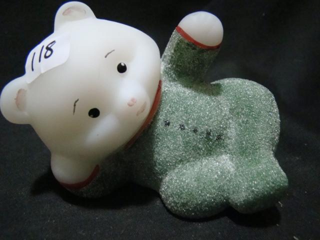 Opal sanded reclining bear figurine
