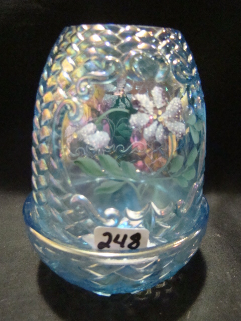 Hand painted blue iridescent fairy lamp