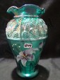 "8"" Hand painted green Designer Showcase vase signed Christina Hall"