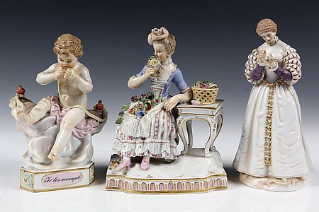 3 Late 19th Century Meissen Porcelain Figurines