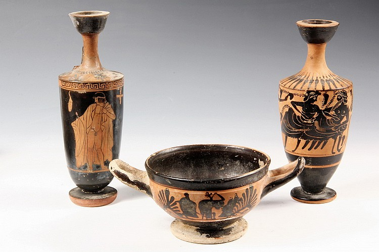 "(3 PCS) GREEK BLACKWARE POTTERY - Incl: Kylix w/ figures in silhouette, 3"" tall; Lekythos, 7 1/2"" T; PLUS Lekythos w/ Athlete holding t"