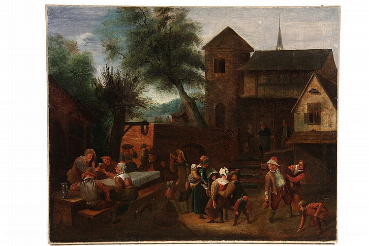 OOC - Village Festival Scene, in the manner of David Teniers the Younger (Flemish, 1610-1690), initialed 'DT' inside an oval lower le