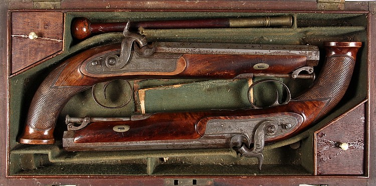 "CASED PAIR OF DUELING PISTOLS - Pair of Percussion Pistols by Robert Bragg of London, circa 1840, in fitted mahogany case, 13 1/2"" long"