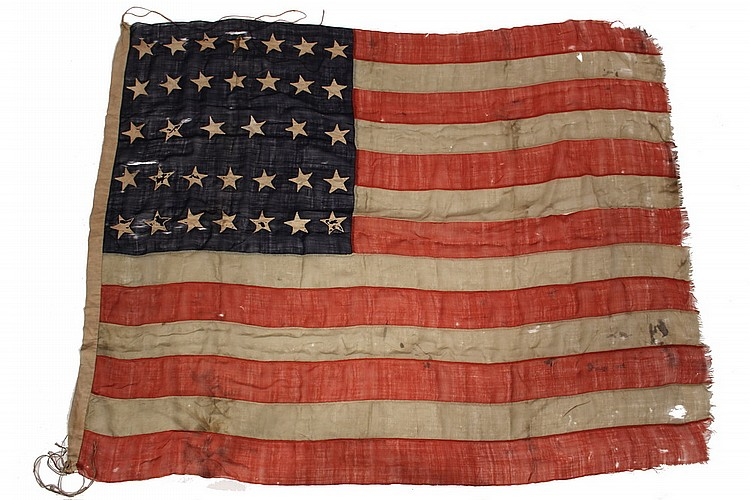 CIVIL WAR FLAG - 35-Star Flag of the United States of America, Battle Standard of the Union in the American Civil War, of hand-sewn thi