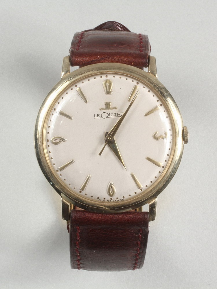 "GENT'S WRISTWATCH - Man's 14K gold round head Lacoultre Wristwatch, circa 1960, case: 1 3/8"" diam."