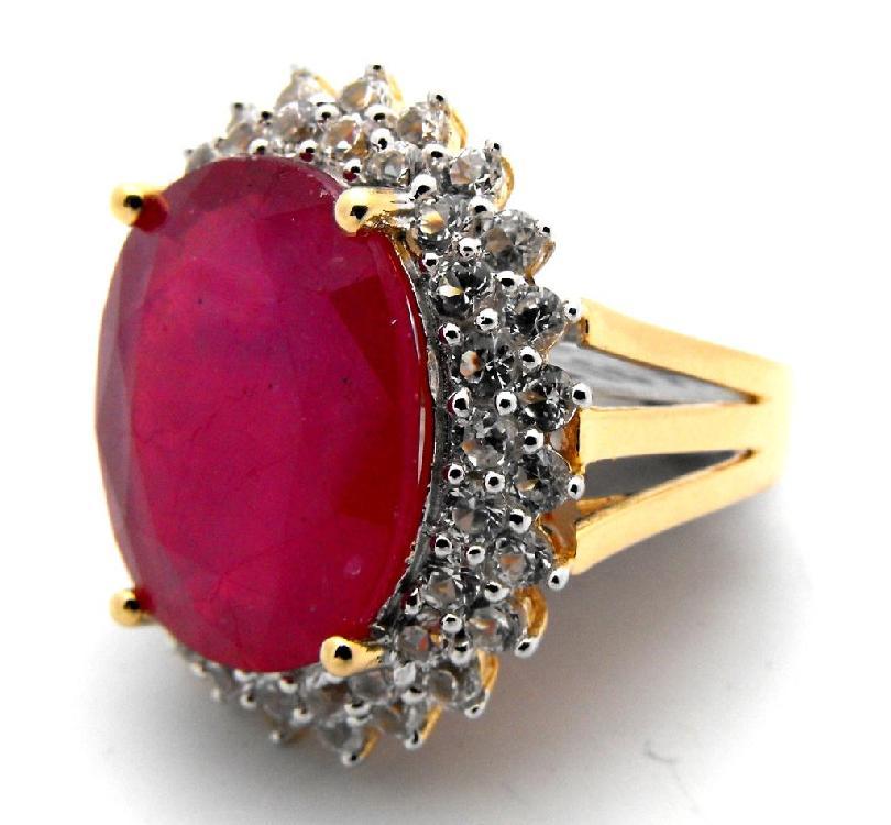 E- $16,885 Rubu & Sapphire Ring 14k G/P over S/S
