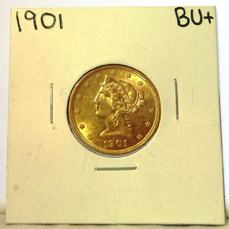 1901 BU PLUS $ 5 Liberty Gold Coin