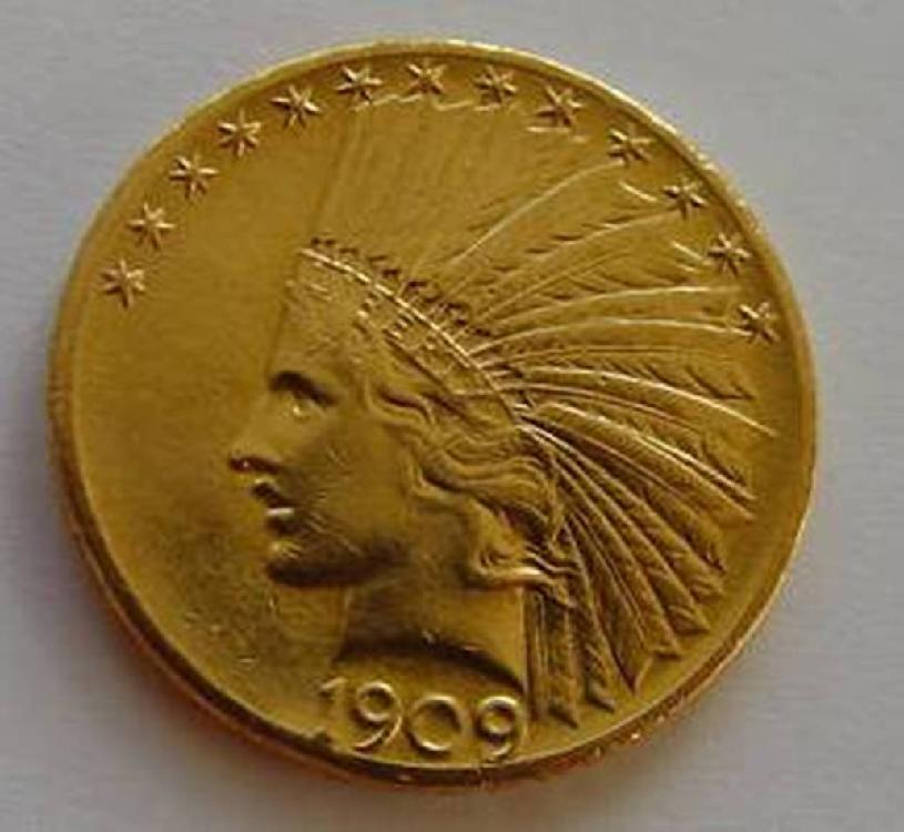 Random Date $ 10 Gold Indian Raw-
