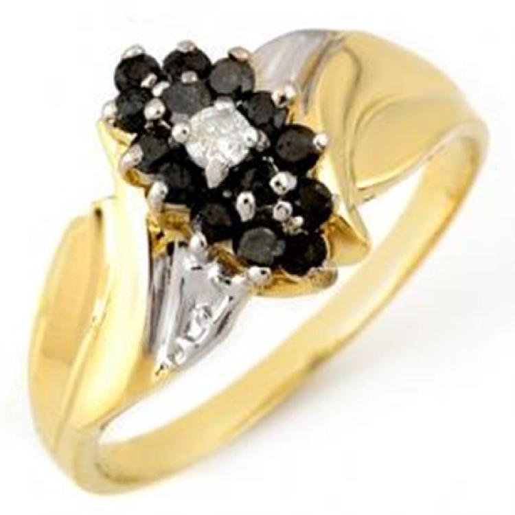 White & Black Diamond Ring YG- $ 3k GG GIA