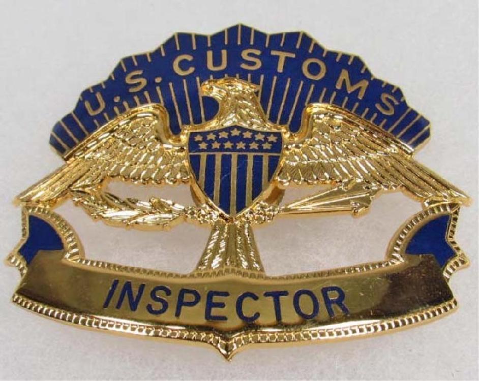 RA- Obsolete US Customs Inspector Hat Badge
