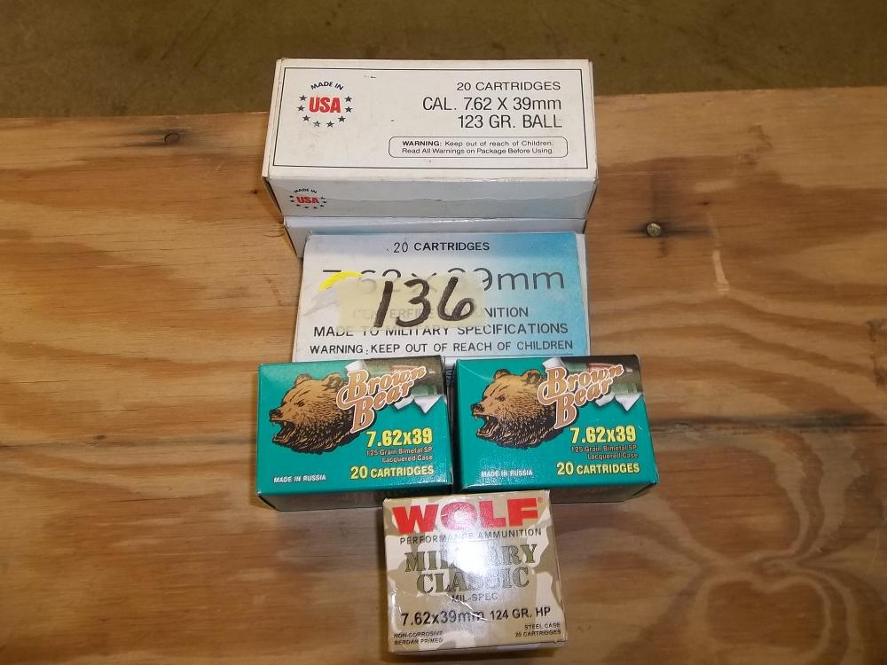 120 Rds. 7.62 x 39 Mixed (Brn. Bear-Wolf-Others