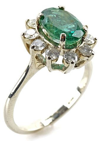 LADIES 14K WHITE GOLD EMERALD & DIAMOND RING