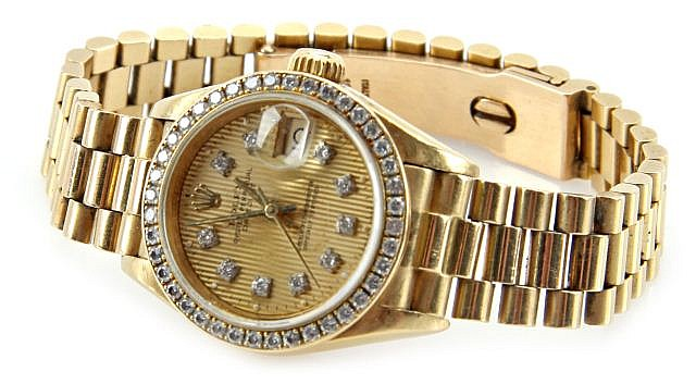 LADIES 18K DIAMOND ROLEX PERPETUAL DATEJUST WATCH