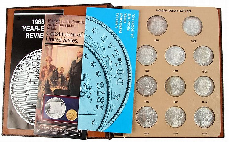 MORGAN SILVER DOLLAR DATE SET MINT STATE 22 COINS