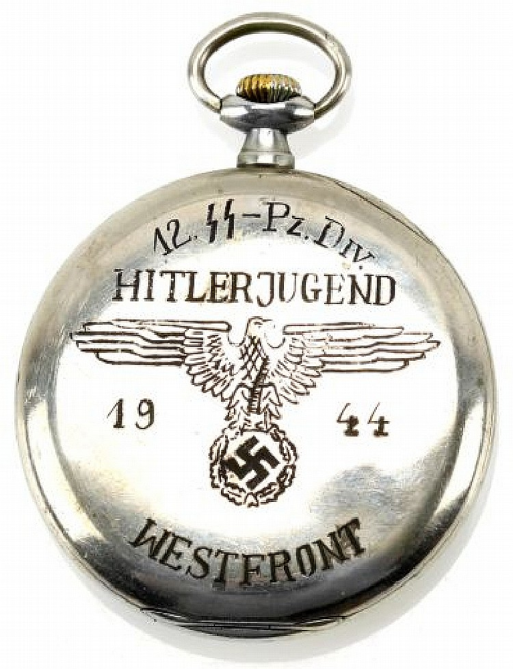 12TH PANZER DIVISION ENGRAVED POCKETWATCH 1944