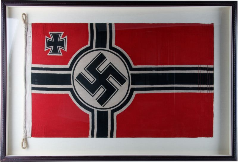 FRAMED WWII GERMAN KRIEGSMARINE FLAG