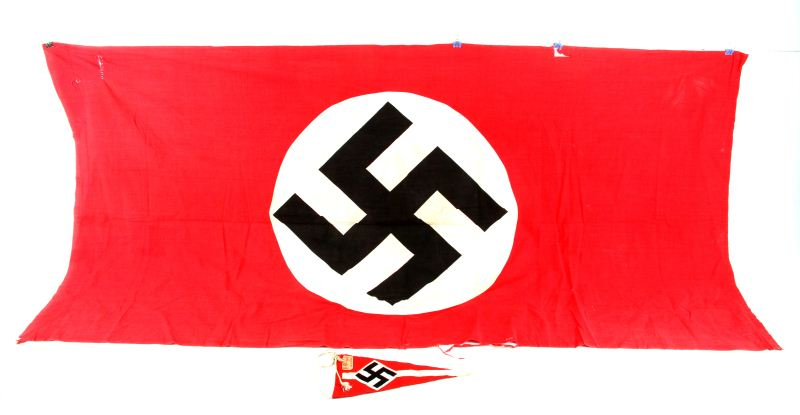 WWII GERMAN NSDAP BANNER & HITLER YOUTH PENNANT