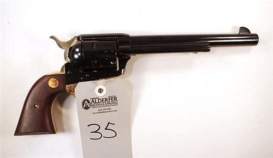 """Colt Single Action Army 125th Anniversary Commemorative single action revolver. Cal. 45. 7-1/2"""" bbl. SN 4081AM. Blued finish on meta..."""