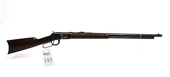 "Winchester Model 1894 lever action rifle. Cal. 32-40. 26"" octagon bbl. SN 198213. Patina finish on all metal, outside of barrel and ..."