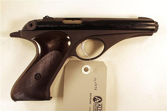 "Whitney Firearms Co. Wolverine semi-automatic pistol. Cal. 22 LR. 4-3/4"" bbl. SN 28913. Blued finish on slide, matte frame, brown di..."