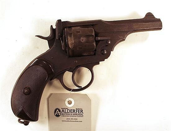 "Webley & Scott Ltd. Mark IV double action revolver. Cal. 455. 4"" bbl. SN 857. Patina finish on all metal with large areas of freckli..."