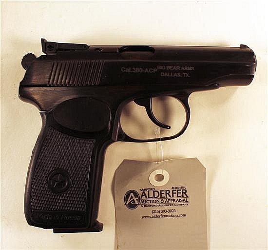 "Russian IJ70-18A Makarov semi-automatic pistol. Cal. 380 ACP. 4"" bbl. SN BHT6833. Blued finish on metal, black plastic grips show li..."