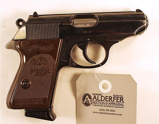 "Walther Model PPK semi-automatic pistol. Cal. 380. 3"" bbl. SN 115807. Blued finish on metal, brown plastic grips show very light han..."