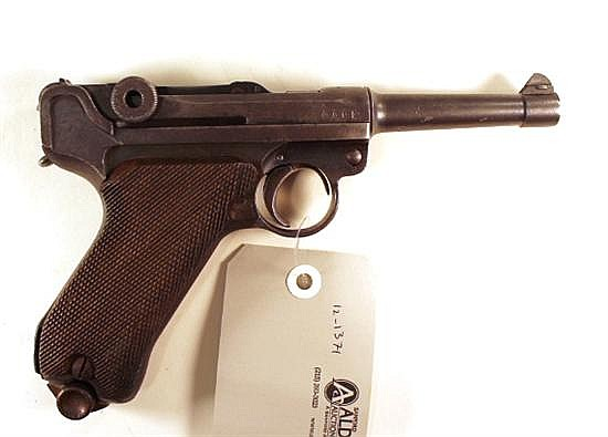 "Erfurt Royal Arsenal PO8 Luger semi-automatic pistol. Cal. 9 mm. 4"" bbl. SN 9377. Patina finish on metal, walnut grips have various..."