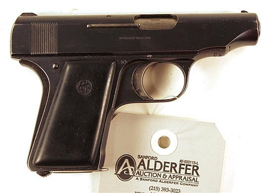 """Ortgies Vest Pocket Automatic semi-automatic pistol. Cal. 6.35 mm. 2-3/4"""" bbl. SN 81916. Blued finish on metal, slide shows very sma..."""