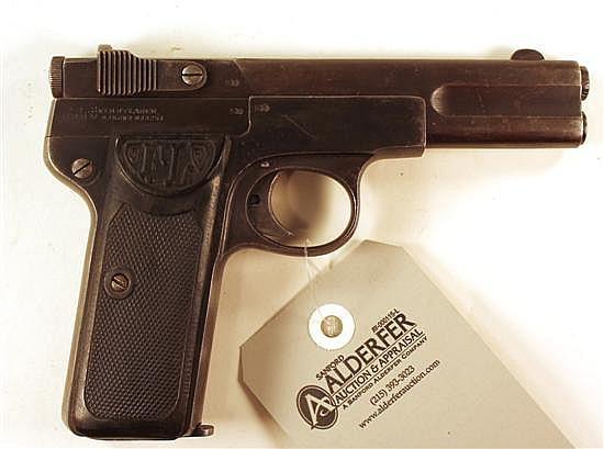 "Friedrich Langenhan Selbstlader semi-automatic pistol. Cal. 7.65 mm. 4"" bbl. SN 42425. Patina finish on metal, very light freckling ..."