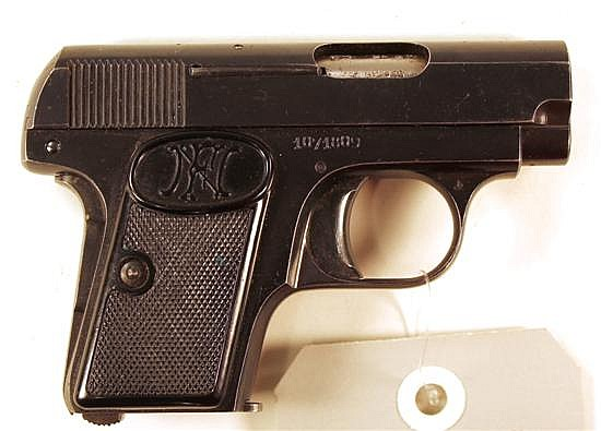 "FN Browning Pocket Model semi-automatic pistol. Cal. 6.35 mm. 2"" bbl. SN 1071809. Blued finish on metal, very light freckling on top..."