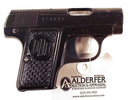 "CZ Duo semi-automatic pistol. Cal. 6.35 mm. 2"" bbl. SN 174018. Blued finish on metal, metal shows areas of light freckling, black fa..."