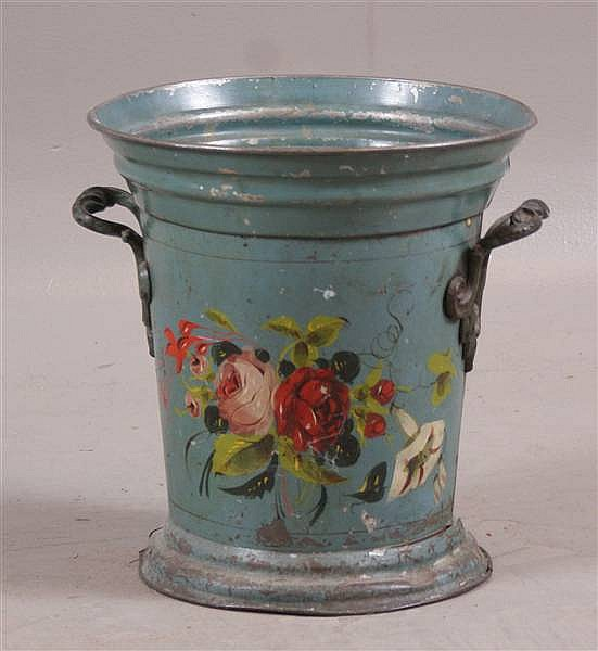 """EARLY BLUE TOLE DECORATED TIN WASTE POT WITH FLORAL DÉCOR, 12 1/2"""""""
