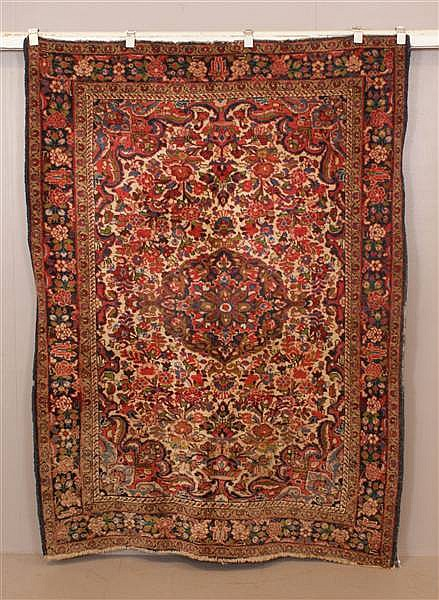 ORIENTAL RUG ANTIQUE PERSIAN BORCHELOU, 5 X 6.9