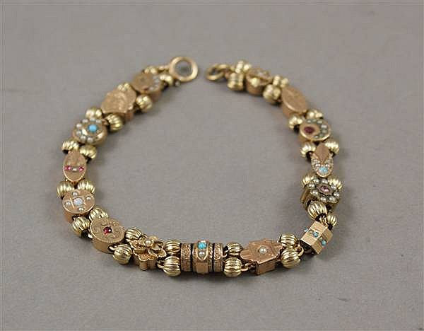 VICTORIAN GOLD FILLED SLIDE BRACELET WITH SEED PEARL AND GEMSTONE ACCENTS