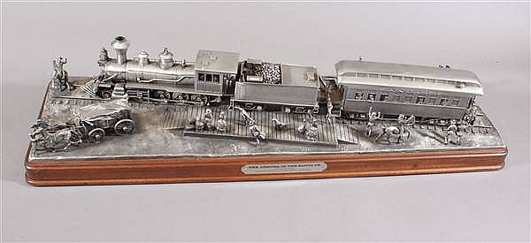 "LARGE PEWTER LOCOMOTIVE GROUPING BY DON POLLARD, SIGNED AND NUMBERED, MOUNTED ON MAHOGANY BASE, 9"" X 29"""