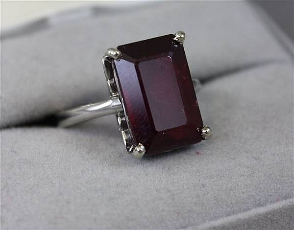 14K WHITE GOLD 13.12CT EMERALD CUT ENHANCED RUBY RING