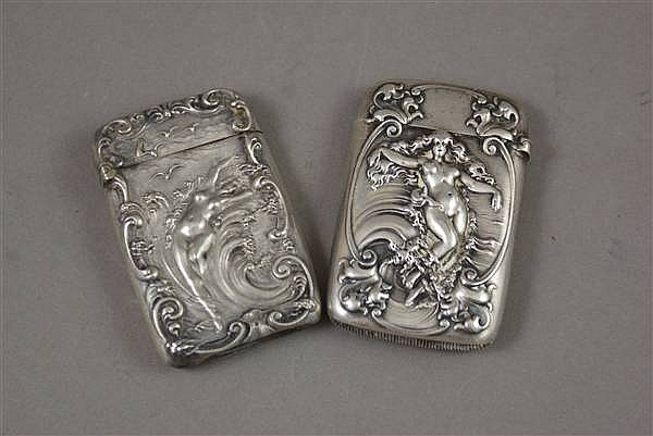 (2) FIGURAL STERLING SILVER MATCH SAFES