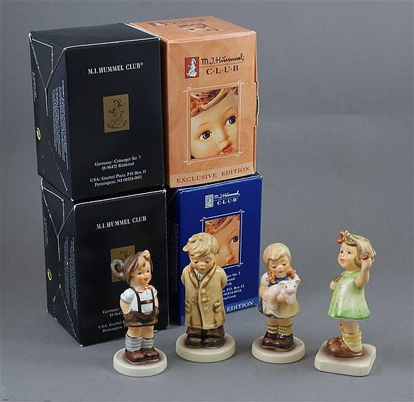"(4) HUMMEL FIGURINES ""PIGTAILS"" #2052 2 MARK, ""FOR KEEPS"" #630 2 MARK, ""TOO SHY TO SING"" #845 8 MARK, ""FOREVER YOURS"" #793 2 MARK, 2 1/2"" TO 4 1/2""H WITH BOXES"