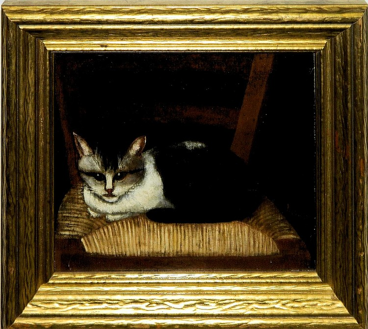 Folk Art oil on canvas Cat Painting, 1888