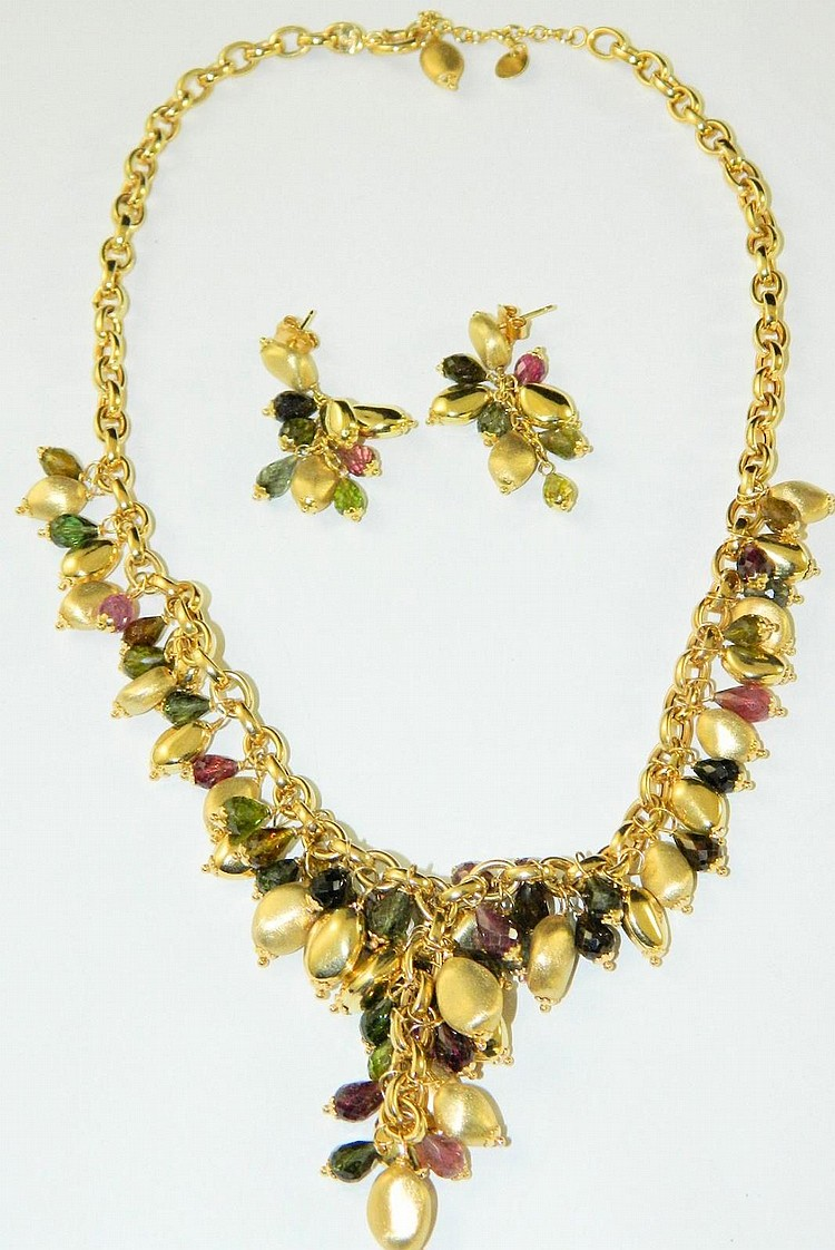 14k gold necklace & earrings, multicolored beads