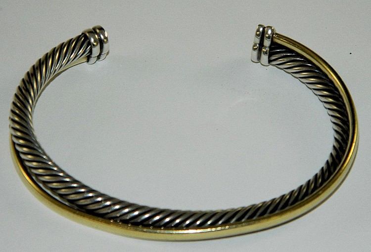 18k and Sterling bangle bracelet